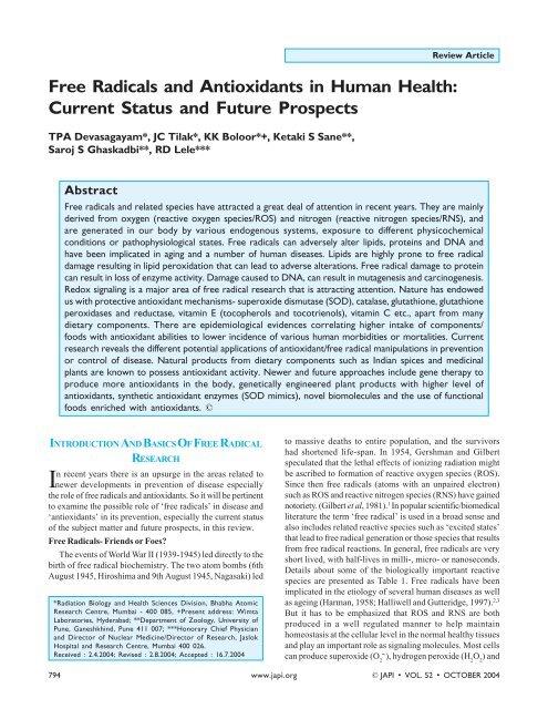 Free Radicals and Antioxidants in Human Health ... - Panela Monitor