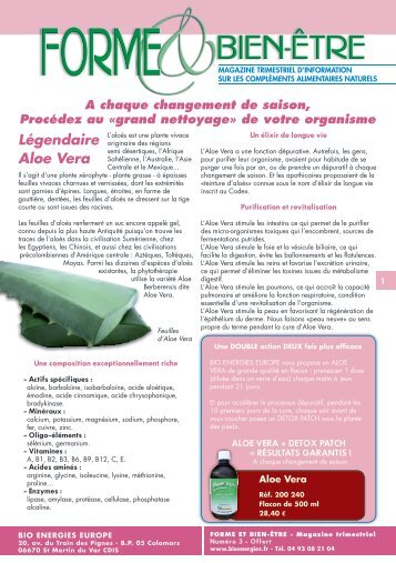 Légendaire Aloe Vera - Bio Energies europe