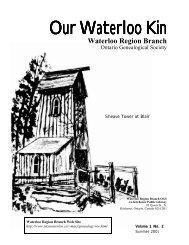 Our Waterloo Kin - Waterloo Region Branch, OGS