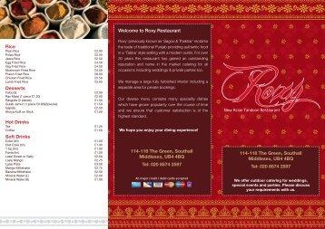 A4 takeaway menu.indd - Roxy Restaurant