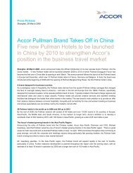 Press release accor Pullman Brand Takes Off in China 080328
