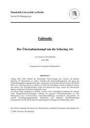 Fallstudie Der Übernahmekampf um die Schering AG