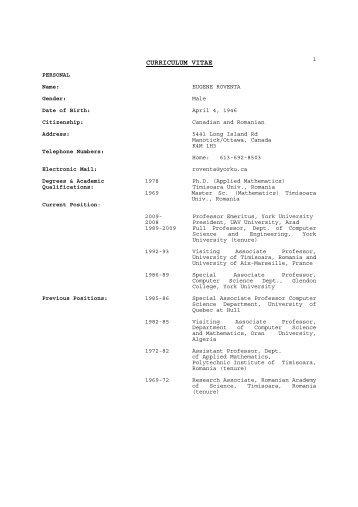 CURRICULUM VITAE - Eugene Roventa