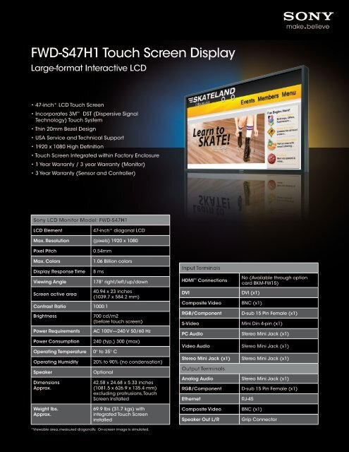 FWD-S47H1 Touch Screen Display - Sony