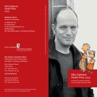 Alice Salomon Poetik Preis 2013 - Alice Salomon Hochschule Berlin