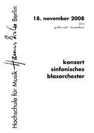 konzert sinfonisches blasorchester - Hochschule für Musik Hanns ...