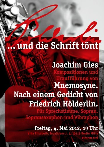 Joachim Gies Kompositionen und Uraufführung von Mnemosyne ...
