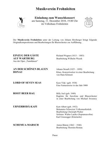 Musikverein Frohnleiten Einladung zum Wunschkonzert