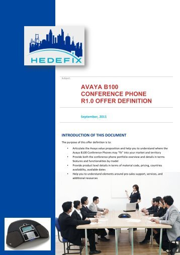 Avaya B100 Conference Phone R1.0 Offer ... - Hedefix Teknoloji