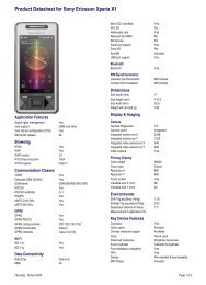 Product Datasheet for Sony Ericsson Xperia X1 - Vodafone