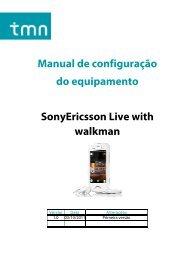 Manual de configuração do equipamento SonyEricsson Live ... - TMN
