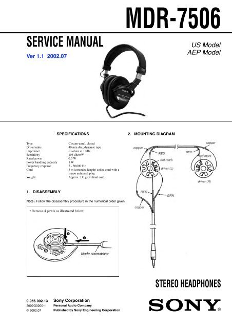 Sony MDR-7506 Service Manual and Repair Parts List