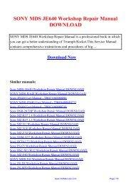 SONY MDS JE640 Workshop Repair Manual DOWNLOAD