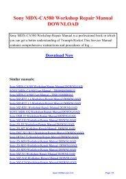 Sony MDX-CA580 Workshop Repair Manual DOWNLOAD