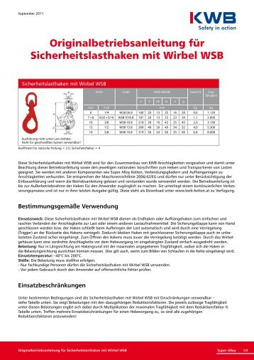 Sicherheitslasthaken mit Wirbel WSB downloaden, bitte hier ... - KWB