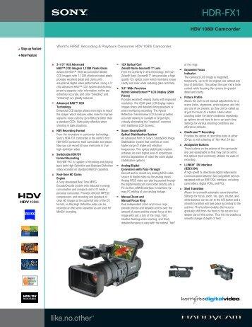 Sony HDR-FX1 HD Video Camera Rental - brochure - Avista Rentals