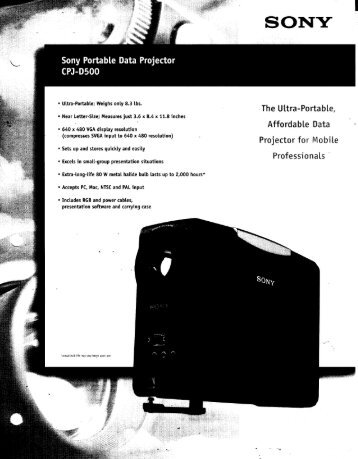 Sony Portable Data Projector CPJ-D500