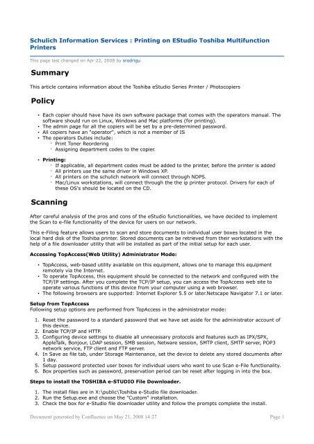 Schulich Information Services : Printing on EStudio Toshiba