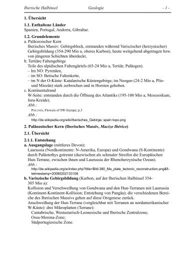 Iberische Halbinsel Geologie - 1 - 1. Übersicht 1.1. Enthaltene ...