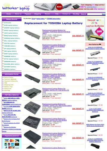 Replacement for TOSHIBA Laptop Battery - Laptop Batteries