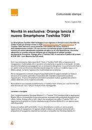 Novità in esclusiva: Orange lancia il nuovo Smartphone Toshiba TG01