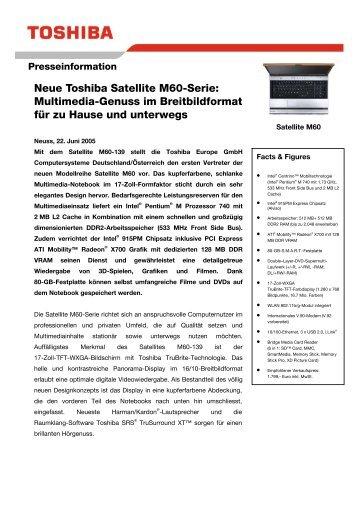 Neue Toshiba Satellite M60-Serie: Multimedia-Genuss im ...