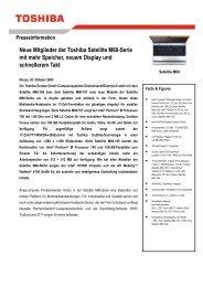 Neue Mitglieder der Toshiba Satellite M60-Serie mit mehr Speicher ...