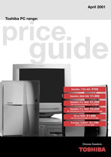 price guide Toshiba PC range