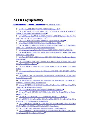 ACER Laptop battery - Replacement Laptop Battery