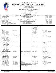 special education local plan area - San Luis Obispo County SELPA