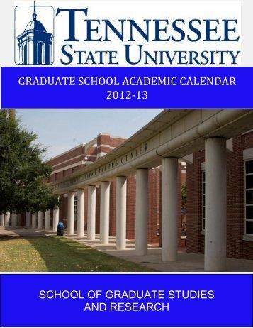 graduate school academic calendar 2012-13 - Tennessee State ...