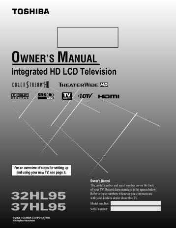 37HL95 Owner's Manual - Toshiba Canada