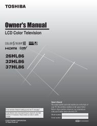 26HL86 32HL86 37HL86 LCD Color Television - Toshiba Canada