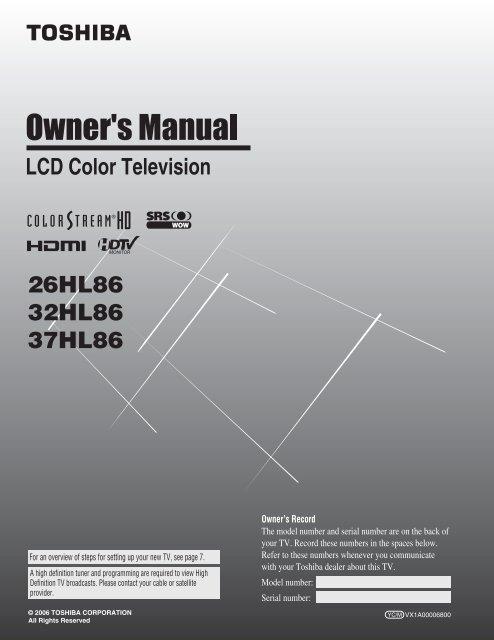 26hl86 32hl86 37hl86 Lcd Color Television