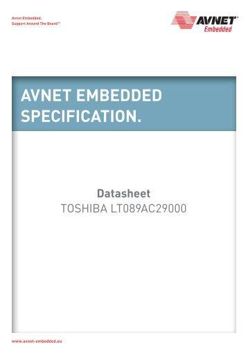 LT089AC29000-Colour TFT-Toshiba - Avnet Embedded