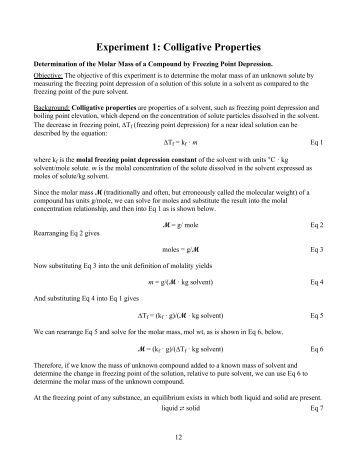 Experiment 1: Colligative Properties