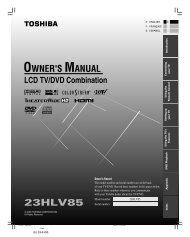 23HLV85 Owner's Manual - English - Toshiba Canada
