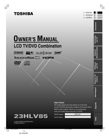 23HLV85 Owner's Manual - English - Toshiba Canada