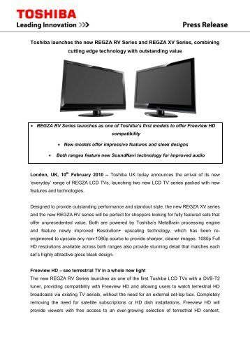 Toshiba launches the new REGZA RV Series and REGZA XV Series ...