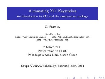 Automating X11 Keystrokes - CJ Fearnley's Home Page