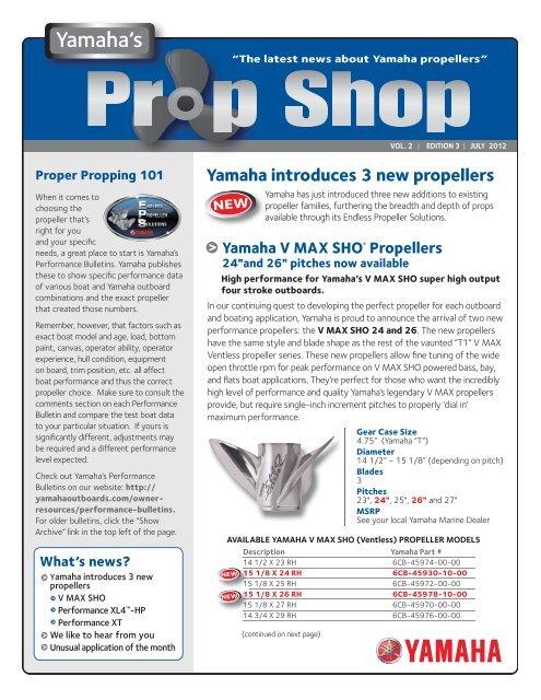 Prop Shop VOL 2 EDITION 3 - Yamaha Outboards