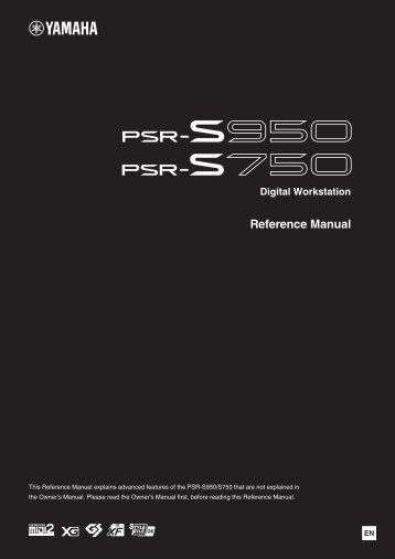 PSR-S950/S750 Reference Manual - Yamaha