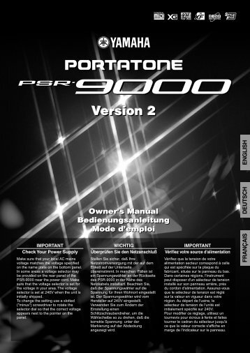 Yamaha PSR9000 Manual - Platinum Audiolab
