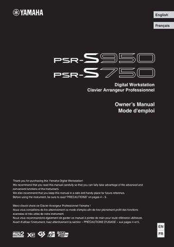 PSR-S950/PSR-S750 Owner's Manual - Full Compass