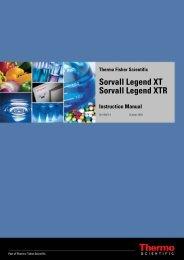 Characteristics of the Sorvall Legend XT/XTR - Fisher Scientific