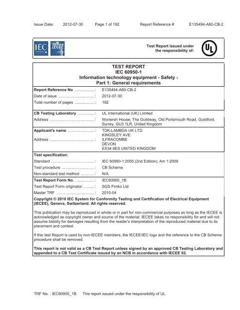 TEST REPORT IEC 60950 1 Information Technology TDK Lambda