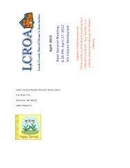 A p ril 2012 Ne xt G e nera l Meeting: 6:30 PM, A pril 17, 2012 ... - lcroa