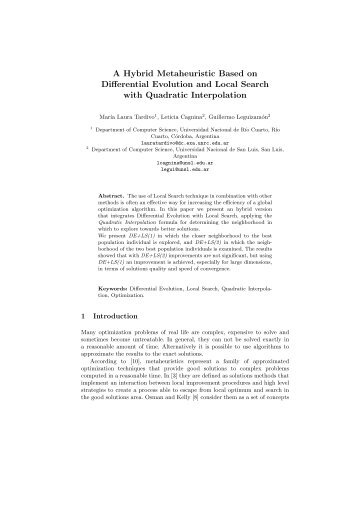 A Hybrid Metaheuristic Based on Differential Evolution and ... - SeDiCI