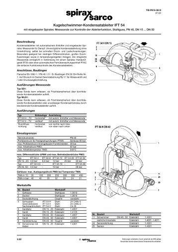 Kugelschwimmer-Kondensatableiter IFT54 ... - Spirax Sarco