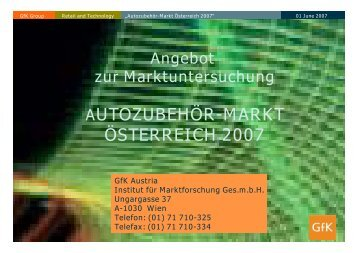 AUTOZUBEHÖR-MARKT ÖSTERREICH 2007 - GfK